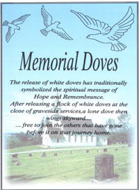 Honor the passing of a loved one with a beautiful dove release at graveside.